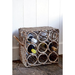 Rustic Rattan Wine Bottle Rack / Rivièra Maison
