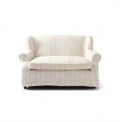 Tampa Bay 2 Seater Sofa Washed Linen White-Stripe / Rivièra Maison