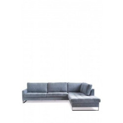 West Houston Corner Sofa Chaise Longue Right, velvet, light blue / Rivièra Maison